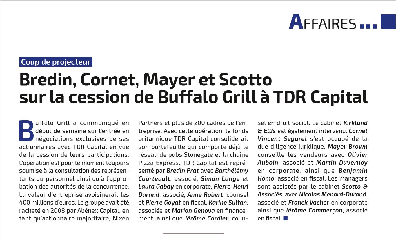 scotto associ s cabinet d 39 avocats scotto associ s sur la cession de buffalo grill. Black Bedroom Furniture Sets. Home Design Ideas